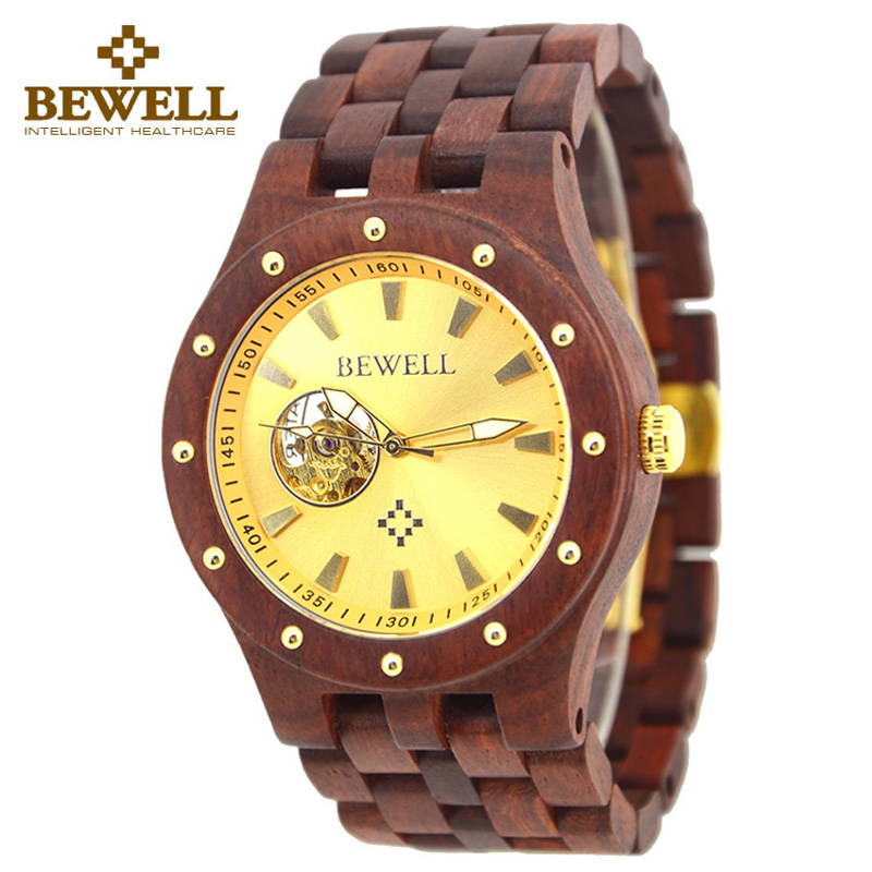 BEWELL Male Watches Wood Clock Handmade Watches Quartz Hour Automation Men s Watch Fashion Brand Wood