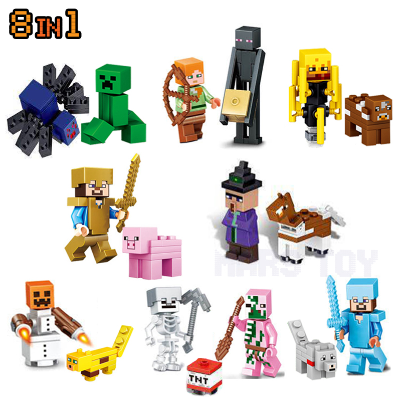 HOT Minecrafted Action Figures Toys Steve Zombie Alex Witch Zombie Skeleton Compatible LegoINGlys Blocks minecraft 4 in 1 building blocks minecraft figures dragons toys steve zombie alex witch zombie skeleton compatible blocks e