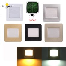 recessed Light sensor led stair light motion human body induction radar sensor steps ladder wall lamp light with 86 mounting box(China)