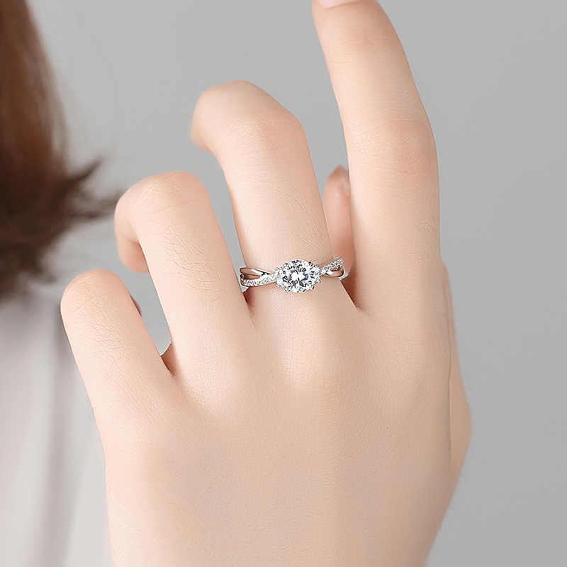 ELESHE แฟชั่นอินเทรนด์ 925 เงินสเตอร์ลิงแหวนหมั้น Pave CZ แหวนคริสตัลคริสตัลสำหรับงานแต่งงานของผู้หญิงเครื่องประดับ