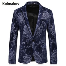 KOLMAKOV 2017 autumn new Men's single-button casual suit blazers,flower Color printed 65% cotton blazer jacket men,size M-3XL.