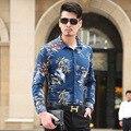Otoño Nuevos hombres de la Llegada Camisa de La Flor 2016 de La Moda de Manga Larga Camisa de estampado de Los Hombres Floral Slim Fit Casual Camisa de Vestir de Los Hombres Camicas