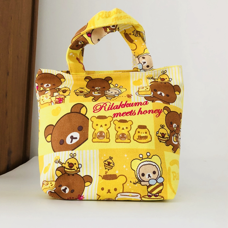 Lunch Bags Functional Bags Just Cool 1pcs Rilakkuma Fashion Portable Canvas Lunch Bags Cartoon Picnic Bag Food Box Tote Storage For Women Unisex Latest Fashion