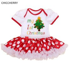 My 1st Christmas Tree Lace Baby Rompers Dresses Roupas De Bebe New Born Christmas Costumes for Kids Clothes Infant-Clothing