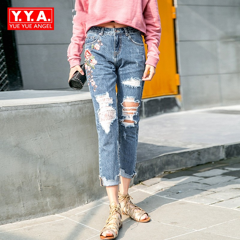 Ethnic Casual Traditional Fashion Embroidery Floral Denim Pants For Women Splice Lace Hole Ripped Female Jeans Hip Hop Trousers