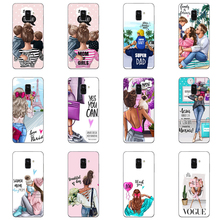 Phone case Black Brown Hair Baby Mom Girl Queen Soft Silicone Case Cover For Samsung Galaxy A3 2016 J3 A5 A7 J5 2015 J7 2017 EU hansa мягкая игрушка hansa кузу 11 см