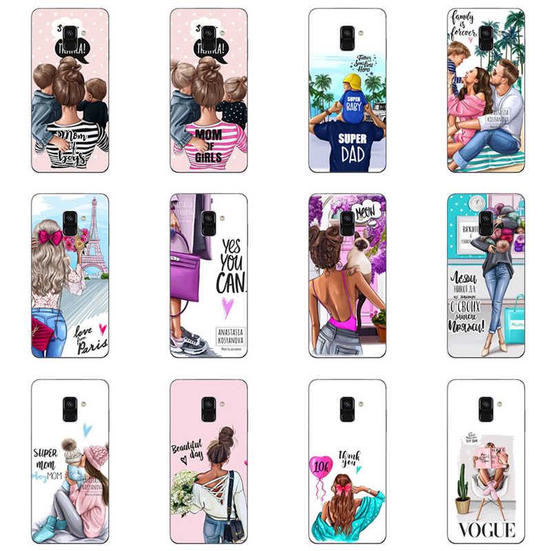 Phone case Black Brown Hair Baby Mom Girl Queen Soft Silicone Case Cover For Samsung Galaxy A3 2016 J3 A5 A7 J5 2015 J7 2017 EU