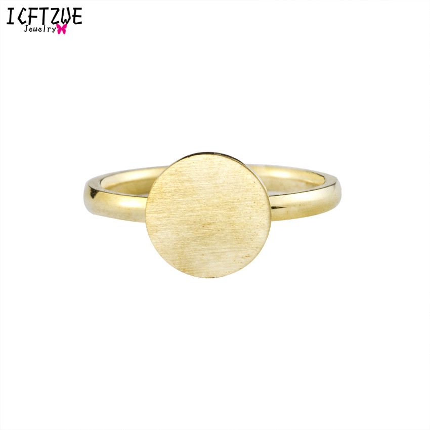 ICFTZWE Fashion Vintage Jewelry Moon Gold Colour Silver Geometric Circle Knuckle Rings Stainless Steel Rings For Men