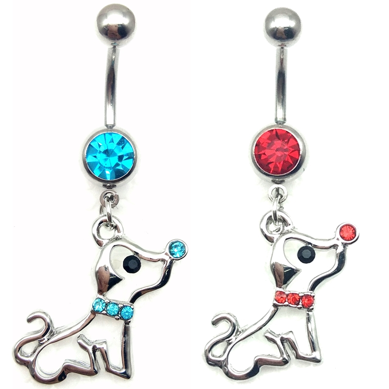 Wholesale and retail Crystal Anti allergy Dog dangling pendant barbell navel belly stud body piercing jewelry belly button rings