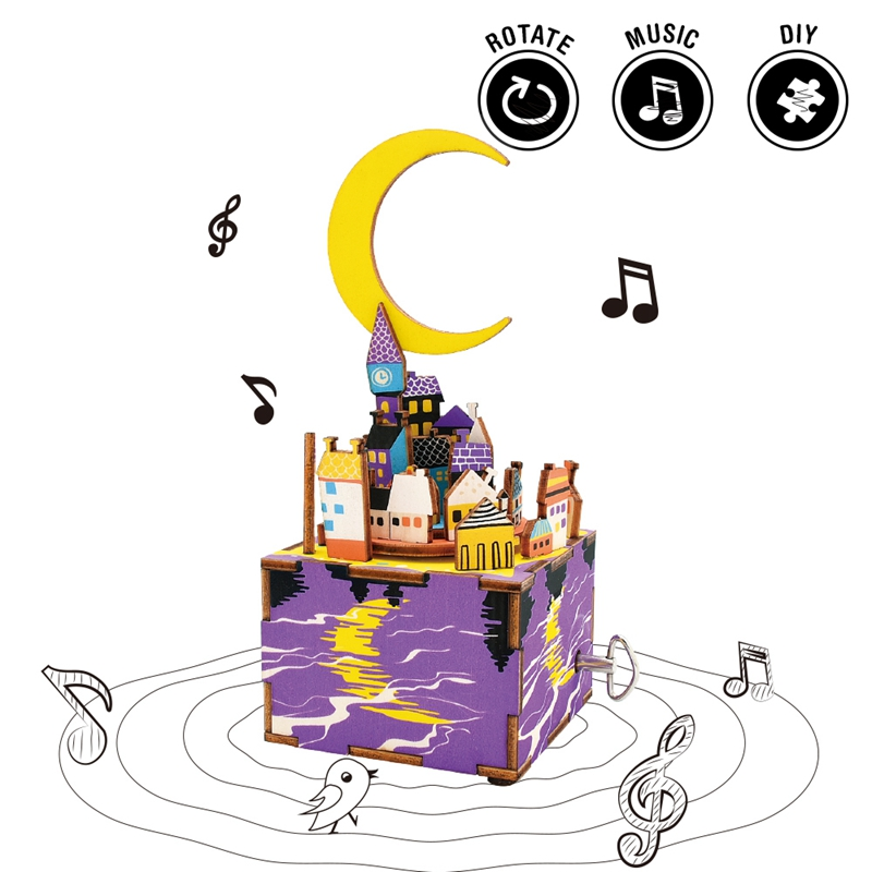 Robotime Rotatable DIY Midsummer Night Dream Wooden Hand Crank Music Box Exquisite Package Gift for Children Firends AM306