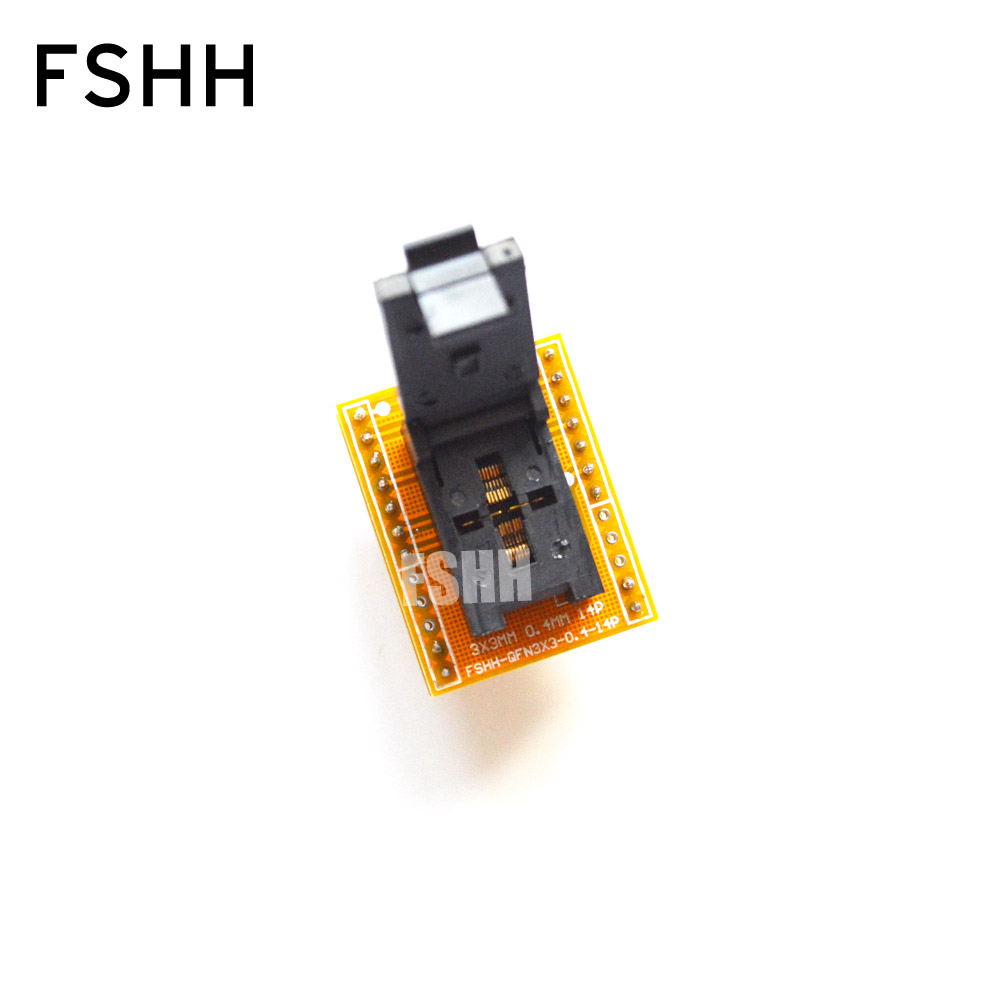 FSHH QFN14 to DIP14 Programmer adapter WSON14 UDFN14 MLF14 ic socket Pin pitch=0.4mm Size=3x3mm fshh qfn32 to dip32 programmer adapter wson32 udfn32 mlf32 ic test socket size 3 2mmx13 2mm pin pitch 1 27mm