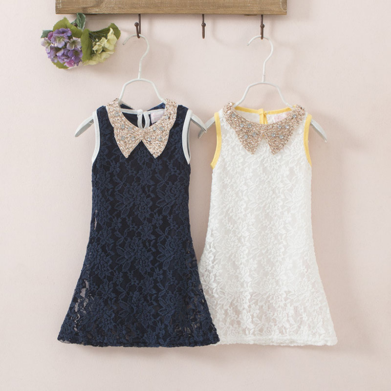 New Summer 2 Layers Toddler Lace Dresses Vintage Girls