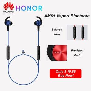 Image 1 - Наушники HUAWEI HONOR AM61 Xsport беспроводная гарнитура Магнитный дизайн с IP55 водонепроницаемым басом Bluetooth 4,1 для Huawei P30