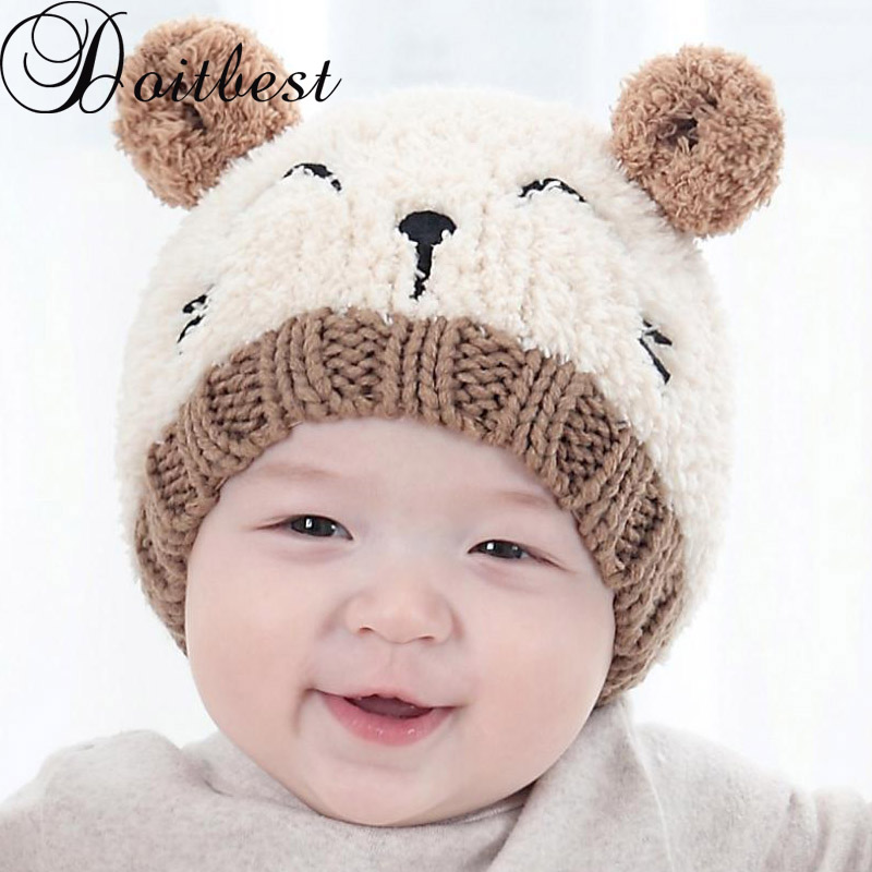 Toddler Boy Girls Warm Winter Woolen Beanie Hat Newborn Baby Ears Plush Cap CP