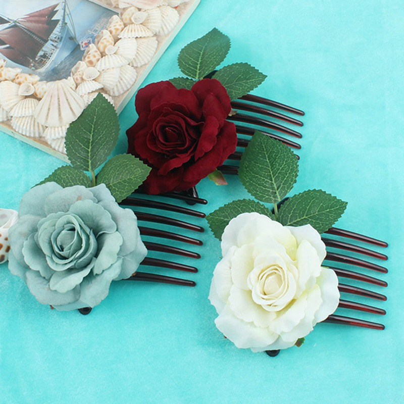 457893faee980 US $0.75 5% OFF|Romantic Fancy Silk Artificial Rose Flower Hair Comb Purple  White Hair Clip Wedding Bridal Women Prom Headpiece Party Hair Tool-in ...