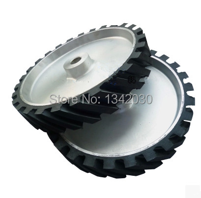 300*50*25mm Grooved Rubber Wheel Belt Sander Polisher Wheel Sanding Belt Set Contact Wheel цена