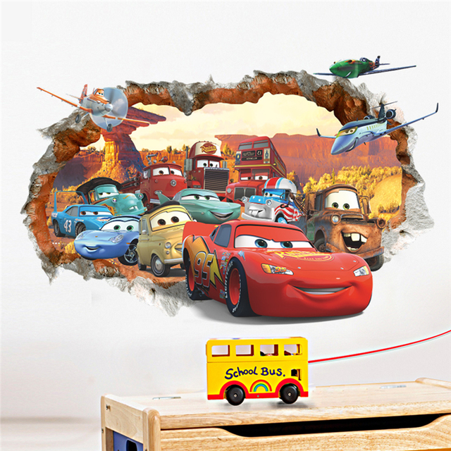 Cartoon 3d Through The Brick Pixar Car Wall Sticker For Kids Rooms Children Wall Art Decal Mural Wallpaper Home Decor Boy's Gift