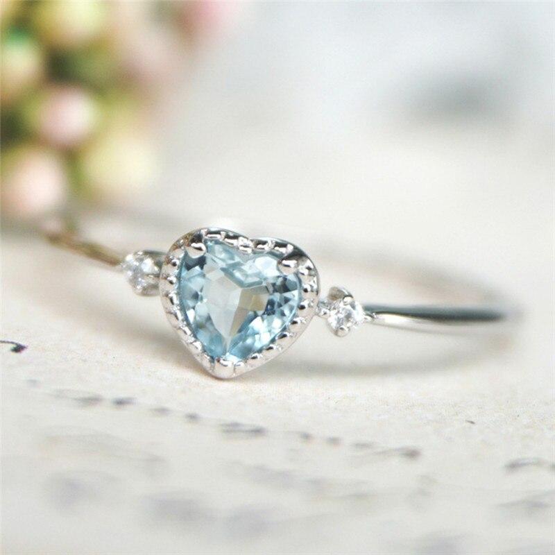 ROMAD, синий кристалл, женские обручальные кольца на палец, изысканное кольцо с сердечком, женское, серебристый цвет ААА CZ, обручальные кольца для влюбленных R4