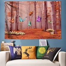 Romantic Butterfly Tapestry Natural Forest Large Wall Tapestry Hippie Wall Hanging Boho Decorative Tapestries Mandala Wall Art fire and water butterfly pattern wall art tapestry
