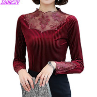 New Winter Warm Gold Velvet Pullover Tops Women Embroidered Lace Stitching Long Sleeved Primer Shirt Slim