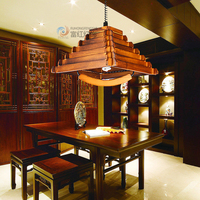 Wooden mahjong lamp chinese style lift lamp wooden solid wood pendant light antique lamp