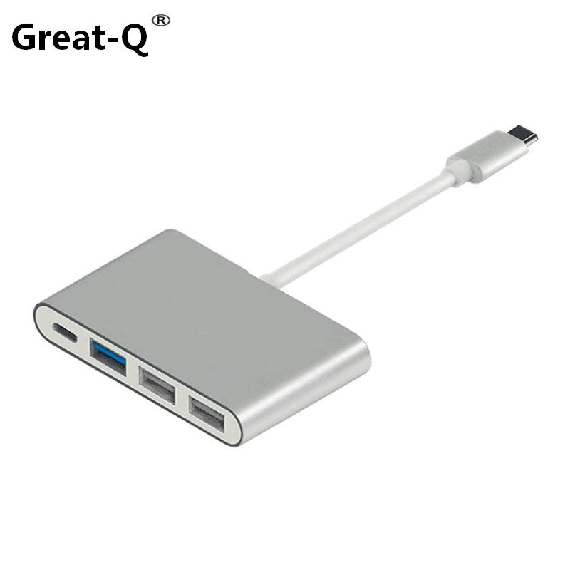Great-Q USB 3.1 USB-C to 3 Ports Hub 2*usb 2.0 & 1 * usb 3.0 With PD Power Charge For PC Laptop & Chromebook & 12 Macbook