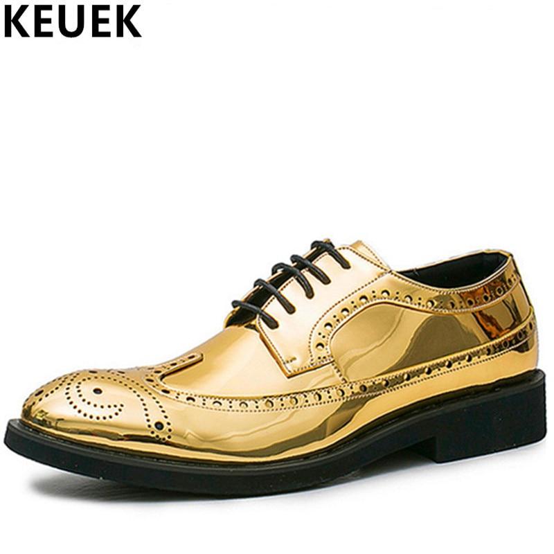 Большой Размеры Ретро Обувь с перфорацией типа «броги» роскошный мужской повседневная обувь Лакированная кожа модные Для мужчин Туфли без ...