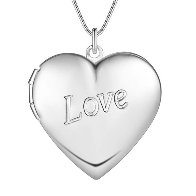 LOVE BIG HEART Locket Picture Frame Pendant Necklace silver Love ...