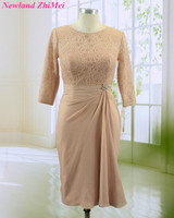 Gorgeous Knee Length Mother of the Bride Dress New Arrival Three Quarter Sleeves Lace Chiffon Dress for Wedding Custom Made