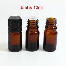 20 pièces 5ml 10ml bouteilles en verre ambré avec compte gouttes 5cc huile essentielle aromathérapie contenants cosmétiques bouteille en verre avec bouchon en plastique