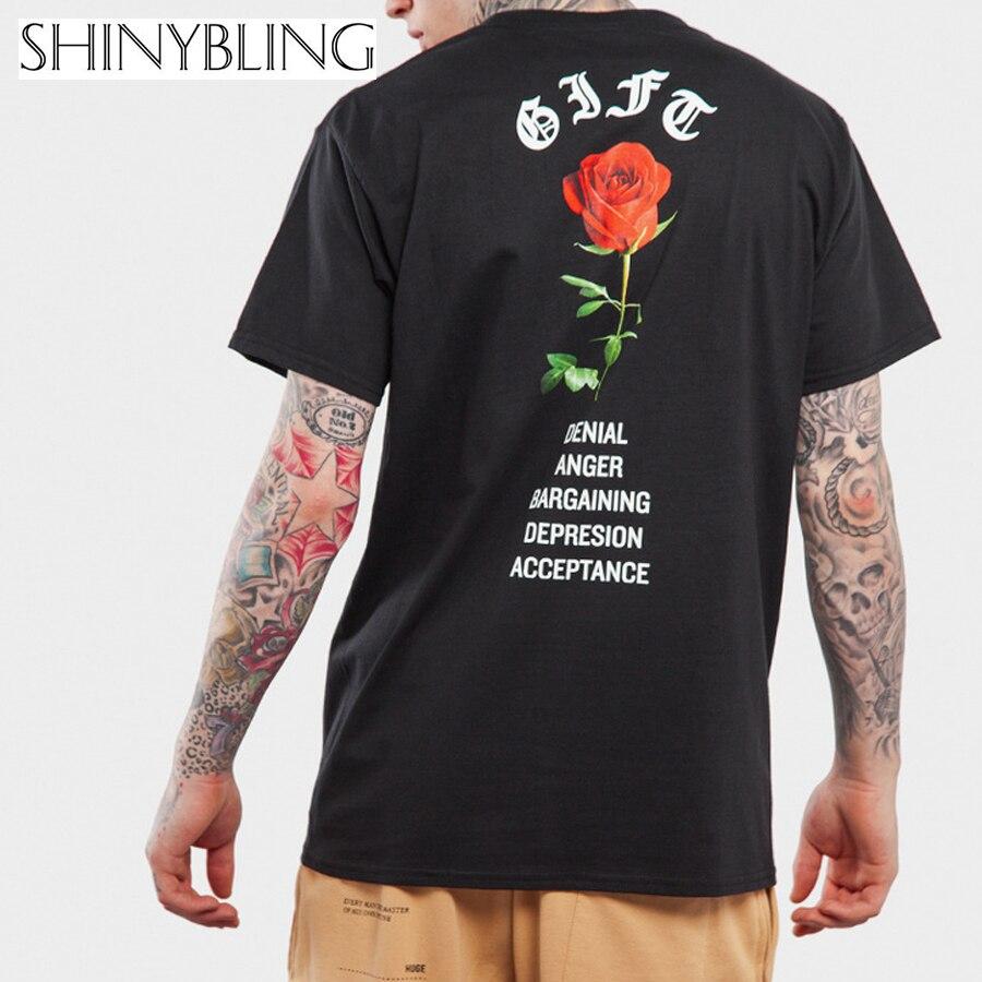 T shirt printing at white rose - 2017 Men S Summer T Shirts Designer Letter Printed Rose Flower Hip Hop Top Shirt Short Sleeve Big Size Loose White Black T Shirt