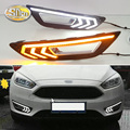 For Ford Focus 3 mk3 2015 2016 2017 2018 turn signal and dimming style Relay LED DRL daytime running light with fog lamp hole