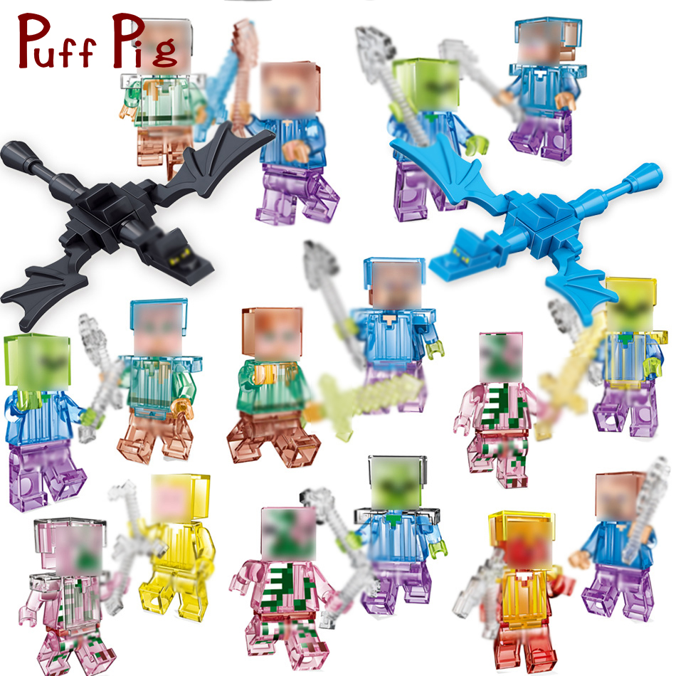 Crystal Zombie Steve Skeleton Dragon Figures Weapons Building Blocks Bricks Set Compatible Legoed Minecrafted City Toys For Kids minecraft 4 in 1 building blocks minecraft figures dragons toys steve zombie alex witch zombie skeleton compatible blocks e