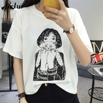 2019 летняя новая белая футболка с короткими рукавами Женская Harajuku  персонаж Печатный Свободный Топ Женская футболка Повседневная S-XL забавна. 369bc13b9278b