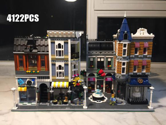 Creator city street view assembly square building block with light mini cook Dancer Painter baby figures bricks 10255 toys