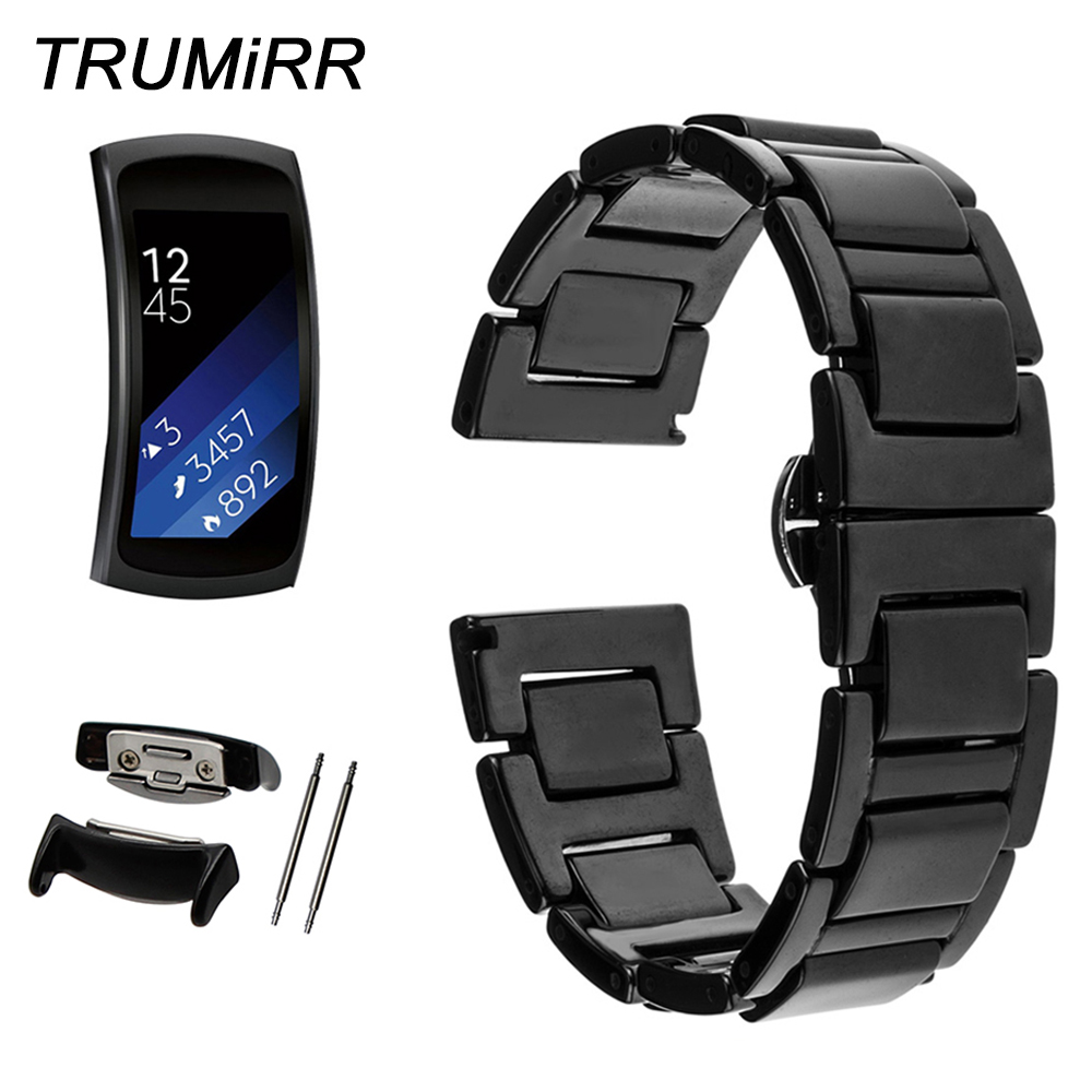 18mm Full Ceramic Watch Band + Link Remover for Samsung Gear Fit 2 SM-R360 Butterfly Clasp Strap Wrist Belt Bracelet Black White 16mm 18mm 20mm full ceramic watchband universal watch band wrist strap butterfly buckle belt bracelet black white link remover