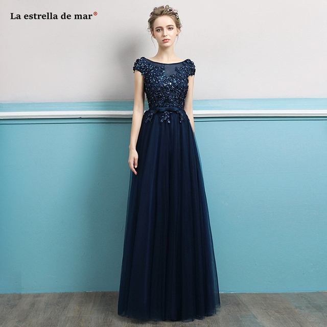 Vestido madrinha2018 new tulle back cap sleeves a Line navy blue red  bridesmaids dresses long sexy brautjungfernkleid cheap 647f80def32f