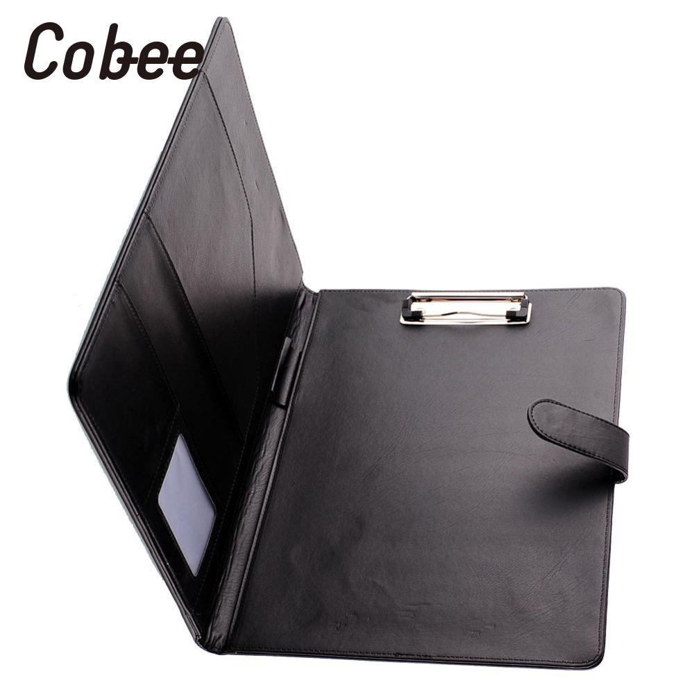 Cobee Black Business A4 Executive Conference Folder Faux Leather Portfolio Clipboard PU Leather Document Organizer Planer a4 leather discolor manager file folder restaurant menu cover custom portfolio folders office portable pu document report cover
