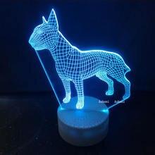 Bull terrier dog 3d настольная лампа детский акриловый светодиодный
