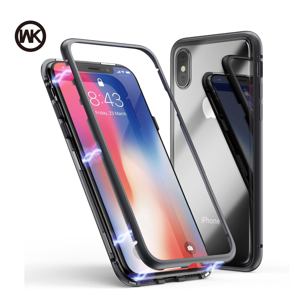 best service 86f8f 5af42 US $10.82 35% OFF WK Design Magnet Absorption Phone Case for iPhone 7 Case  for iPhone X 7 8 Plus Phone Cover Luxury Tempered Glass Back Cover Iqos-in  ...