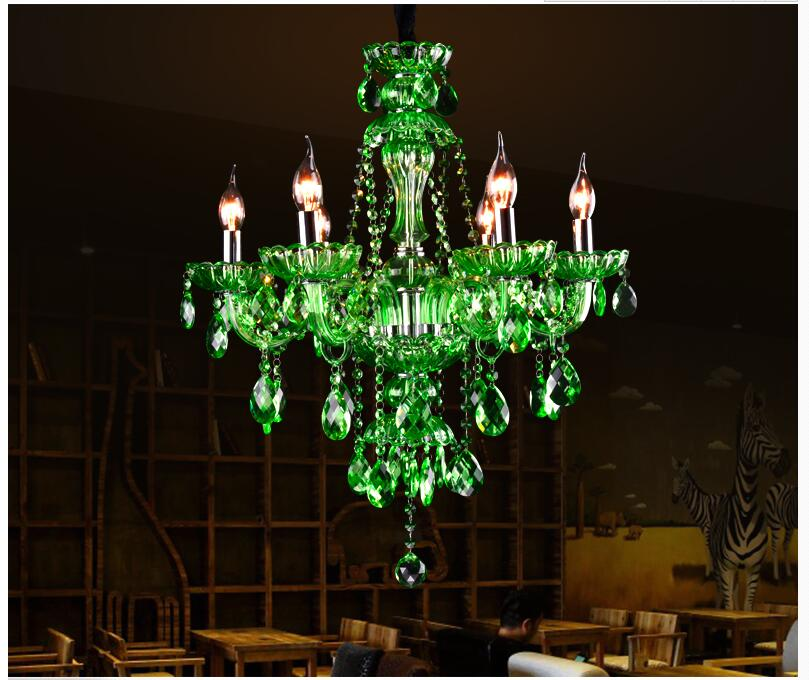 Free Shipping Modern European Green Crystal Chandelier Lighting Tiffany For Bedroom Dinning Room Lounge Light In Chandeliers From Lights