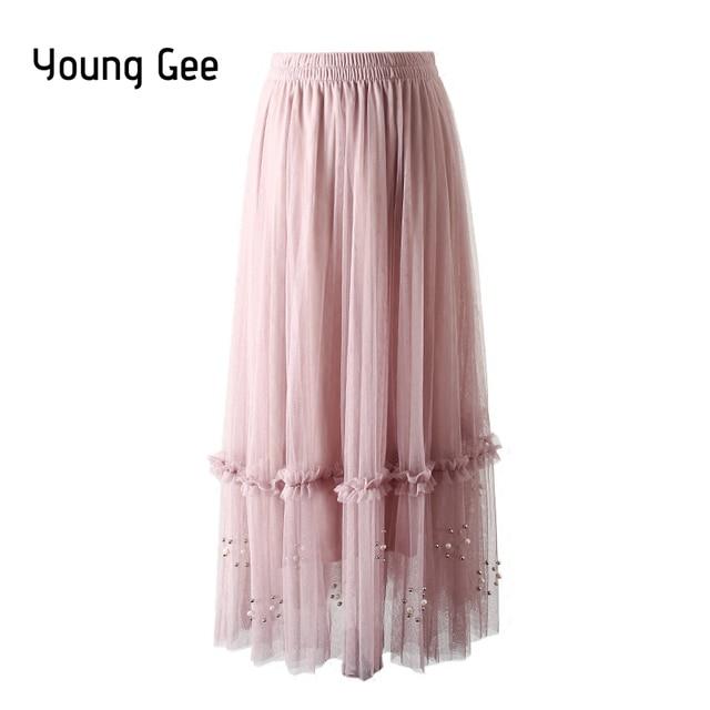 Wddbsq Tulle Skirt Half Length Mesh Banquet Gala Party