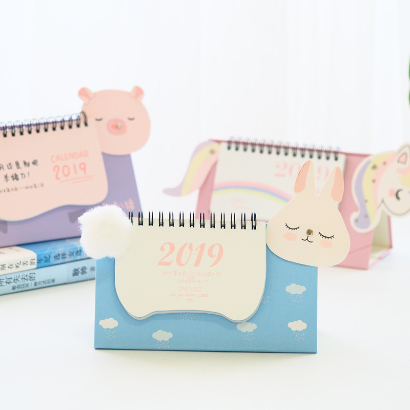 Calendar 2019 Fashion 2019 Lovely Unicorn Pig Calendar Cartoon Diy Desktop Calendar Agenda Organizer Daily Schedule Planner 2018.09~2019.12 Can Be Repeatedly Remolded.