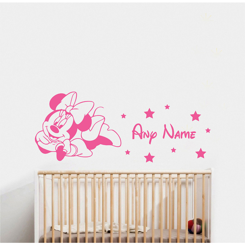 MINNIE MOUSE & NAME WALL STICKER CHILDRENS BEDROOM VINYL DECAL