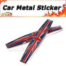 2pcs The Union Jack Emblem Badge Sticker For BMW MINI COOPER Ford Fiat Chevrolet Volkswagen Audi Opel Citroen Smart Peugeot SEAT