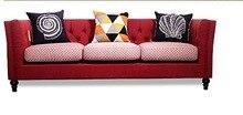 Mais novo Mobiliário Doméstico Tecido Europeia moderna Sala de estar Sofá secional pano de veludo sofá de três lugares de estilo country Americano