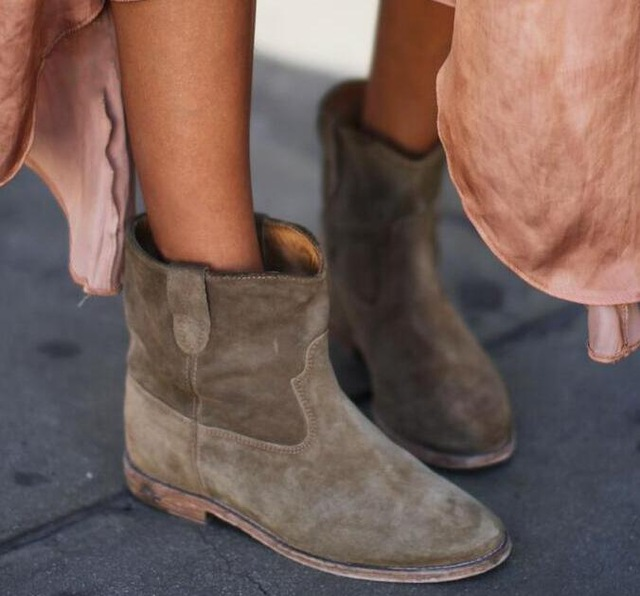 Daim en cuir véritable femmes Biker bottes en cuir de vachette chaussures de moto plat/hauteur augmentant talons rétro Cowboy plissé bottines