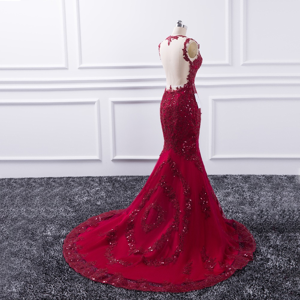 Sexy Long Evening Dress 2019 Sheer O-Neck Prom Gown Mermaid Party Dresses Red vestido de festa Sequin Formal Robe de soiree