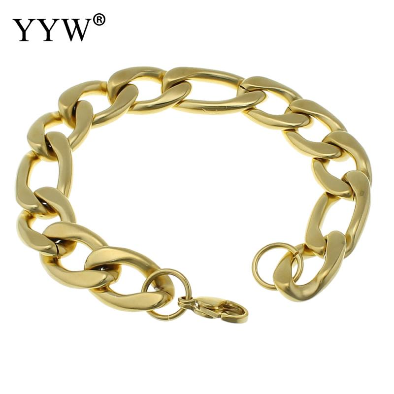 Mens Chain Bracelet Bangle Gold-color Titanium Steel Metal 8.5inch Classic Party Jewelry cool men bracelts