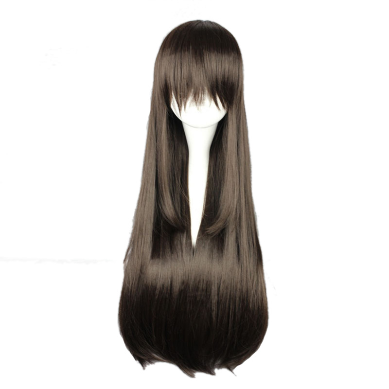 mcoser 80cm long synthetic straight dark brown cosplay costume wig 100 high temperature fiber. Black Bedroom Furniture Sets. Home Design Ideas